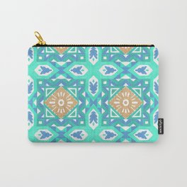 Abstract aqua blue watercolor faux gold glitter motif Carry-All Pouch