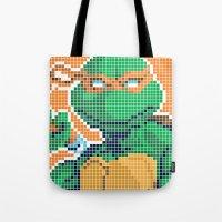 teenage mutant ninja turtles Tote Bags featuring Teenage Mutant Ninja Turtles - Michelangelo by James Brunner