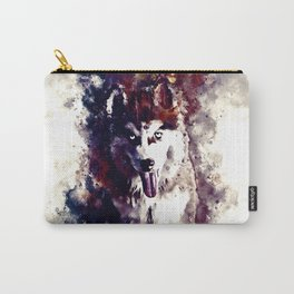 husky puppy dog watercolor splatters foggy night Carry-All Pouch