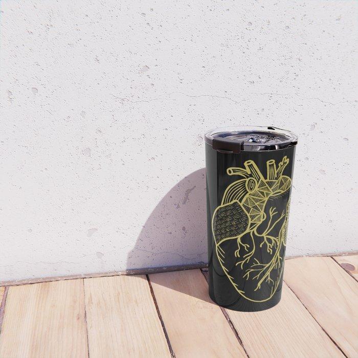 Designer Heart Gold Travel Mug