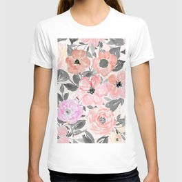 Elegant simple watercolor floral T-shirt