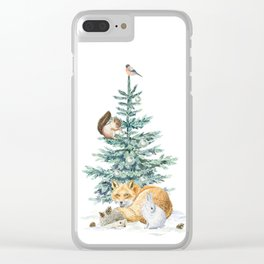 christmas tree in the forest Clear iPhone Case