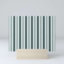Night Watch Color of the Year Thick and Thin Vertical Stripes on Cave Pearl Light Mint Green Mini Art Print