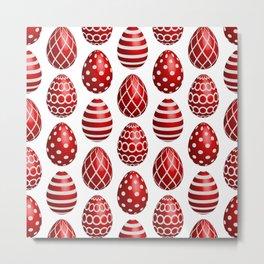 Happy red Easter eggs Metal Print