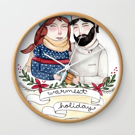Warmest Holiday Wishes Wall Clock