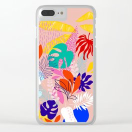 Keep Growing - Tropical plant on peach Clear iPhone Case