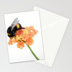 bumblebee on wildflower on white background Stationery Cards