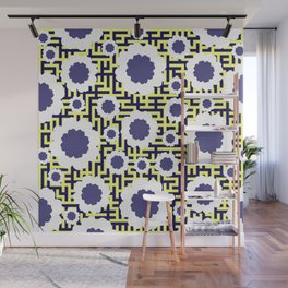 Floral maze in yellow and blue Wall Mural