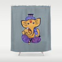 ganesha Shower Curtains featuring Ganesha by Vanya