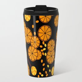 Black and orange pattern . Travel Mug