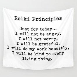 Reiki Principles, Just For Today, Positive, Words Wall Tapestry