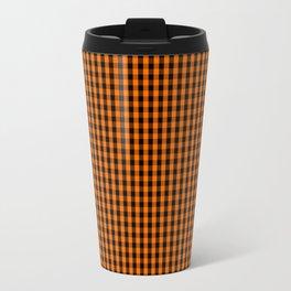Dark Pumpkin Orange and Black Gingham Check Pattern Travel Mug