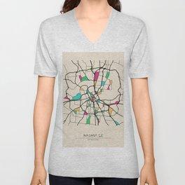 Colorful City Maps: Nashville, Tennessee Unisex V-Neck