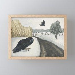 Black Birds in the first snow Framed Mini Art Print