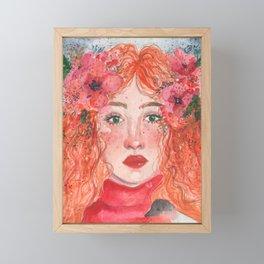 Beautiful girl's watercolor portrait Framed Mini Art Print