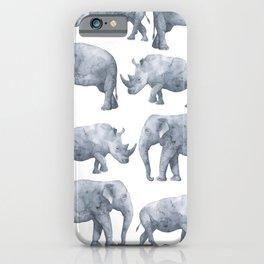 Rhino and elephant iPhone Case