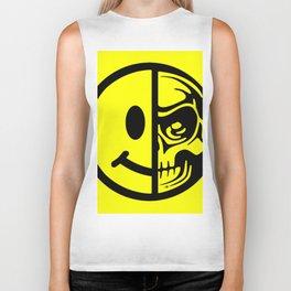 Smiley Face Skull Yellow Biker Tank