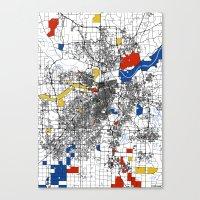 kansas city Canvas Prints featuring Kansas City  by Mondrian Maps