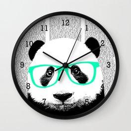 Panda with teal glasses Wall Clock