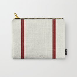 Red Stripes on Creme background French Grainsack Distressed Country Farmhouse Carry-All Pouch