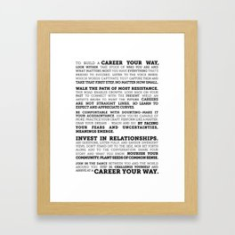 Career Your Way (Black on White) Framed Art Print