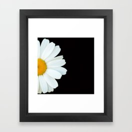 Hello Daisy - White Flower Black Background #decor #society6 #buyart Framed Art Print