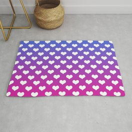 Vibrant Blue, Purple & Pink Gradient With White Hearts Rug