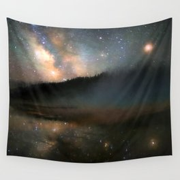 Milky Way Over Yellowstone Wall Tapestry