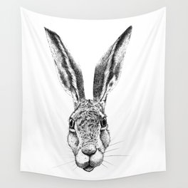 Black and White Big Stare Hare Wall Tapestry