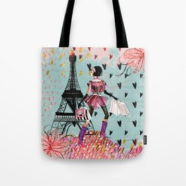 Fashion girl in Paris - Shopping at the EiffelTower Tote Bag