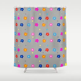Colorful Flower Pattern on grey Background Shower Curtain