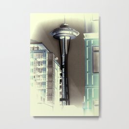 Seattle Space Needle - Negative Green Tea Metal Print