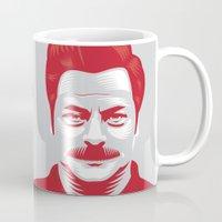 swanson Mugs featuring Swanson 'Fishing' by courtney2k ⚓ design™