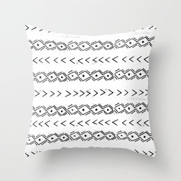 mudcloth 5 minimal textured black and white pattern home decor minimalist Throw Pillow