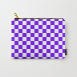 White and Indigo Violet Checkerboard Carry-All Pouch