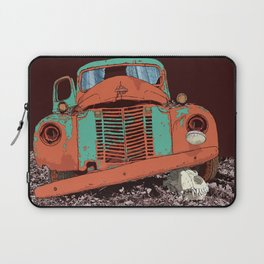 Art print: The old vintage car and the wolf skull Laptop Sleeve