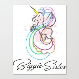 Biggie Sister Unicorn T-Shirt - Summer wear Unicorn T-Shirt For girls Canvas Print