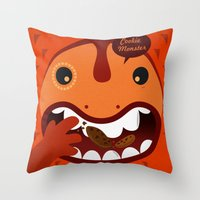 cookie monster Throw Pillows featuring Cookie Monster by Ilias Sounas