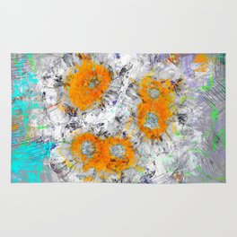 Abstract Floral Mixed Media Watercolor Ink Painting , orange & aqua Rug