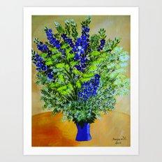 Wild flowers in vase Art Print