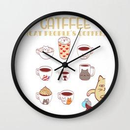 Cafe Espresso Black Americano Coffee Caffeine Cat Morning Person Feline Claw Claws T-shirt Design Wall Clock