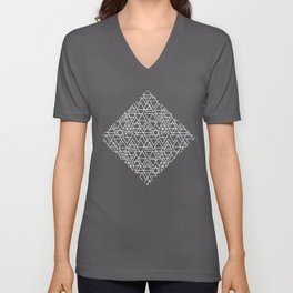 Gray and White Geometric Triangle Pattern Unisex V-Neck