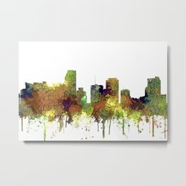 Miami, Florida Skyline SG - Safari Buff Metal Print