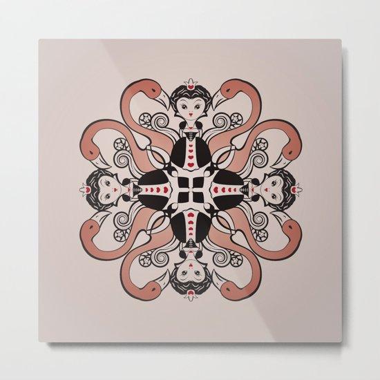 Queen of Hearts mandala Metal Print