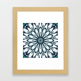 Black and White w/Teal Accent Mandala Framed Art Print