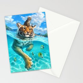 A small swim for a tiger Stationery Cards