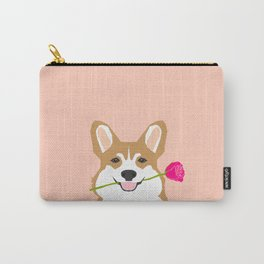 Valentines - Corgi with Rose - Love, Cute Corgi for Corgi Owners, Trendy Girls Love, Valentines Day Carry-All Pouch