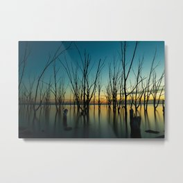 Dead trees on the lake during sunset Metal Print