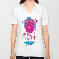 medusa V-neck T-shirts featuring Medusa by Mario Sayavedra