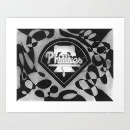 Black&White Phillies Baseball Team Art Print